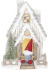 """Новорічний декор """"Будиночок з Сантою"""" 47см з LED-підсвіткою"""