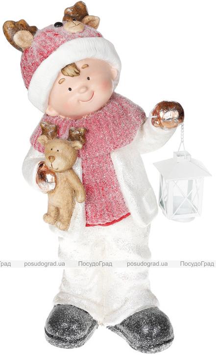 """Фигура керамическая """"Малыш в красной шапке с оленем"""" 51.5см"""