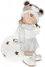"""Фигура керамическая """"Малышка в шапке-мишутке на снежке"""" 44.5см с LED-подсветкой"""
