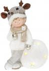 """Фігура декоративна """"Хлопчик на сніжку"""" 46см з LED підсвічуванням"""