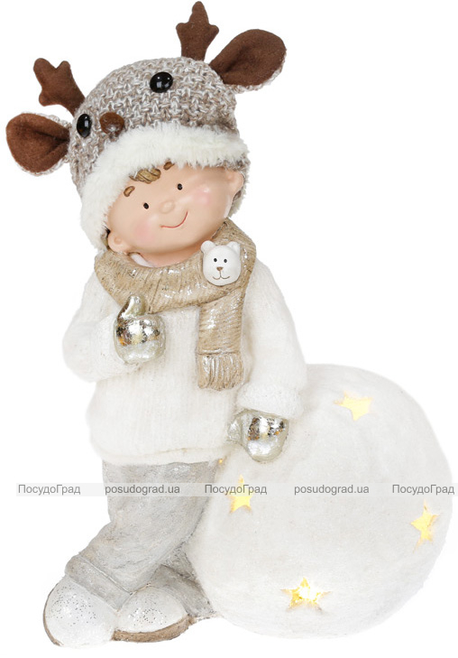 """Фигура декоративная """"Мальчик на снежке"""" 46см с LED подсветкой"""