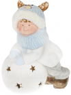 """Фігура керамічна """"Малюк в шапці-оленя на сніжку"""" 43.5см з LED-підсвіткою"""