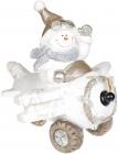 Декор «Снеговик в белом самолете» с LED подсветкой, керамика, 37.5х33х34.5см