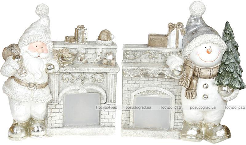 Декоративна фігура «Сніговик біля каміна» з LED-підсвіткою 39.5х18.5х46см