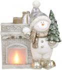 Декоративная фигура «Снеговик у камина» с LED-подсветкой 39.5х18.5х46см