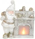 Декоративна фігура «Санта біля каміна» з LED-підсвіткою 37.5х16х43.5см