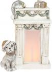 Декоративная фигура «Пёсик у камина» с LED-подсветкой 29.5х14.5х39см