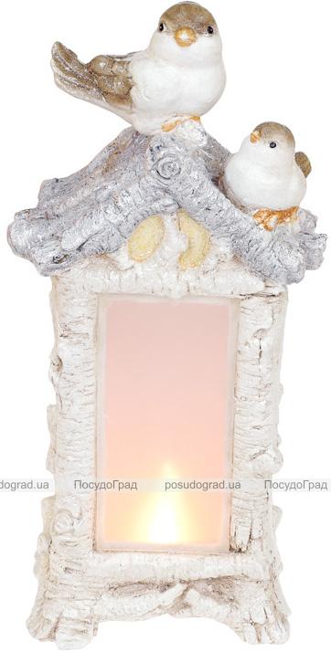 Декоративная композиция «Птичий домик» с LED-подсветкой 21х14.5х44см, шампань
