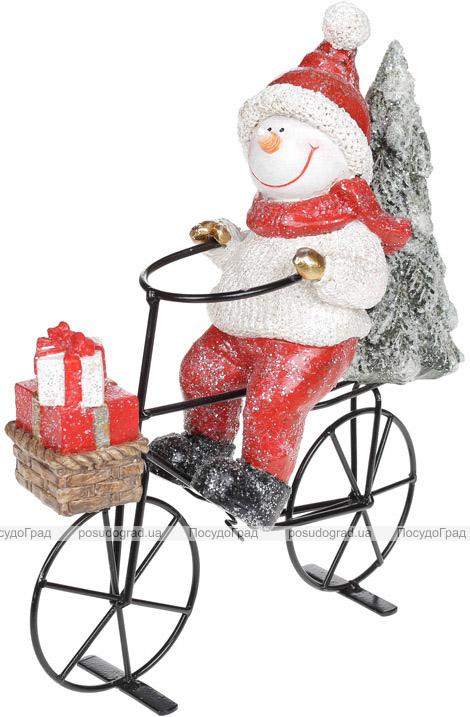 Декоративная статуэтка «Снеговик на велосипеде» 23х9х26.5см, керамика