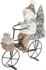 Декоративная статуэтка «Снеговик на велосипеде» 23х9х26.5см шампань, керамика