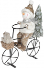 Декоративна статуетка «Сніговик на велосипеді» 23х9х26.5см шампань, кераміка