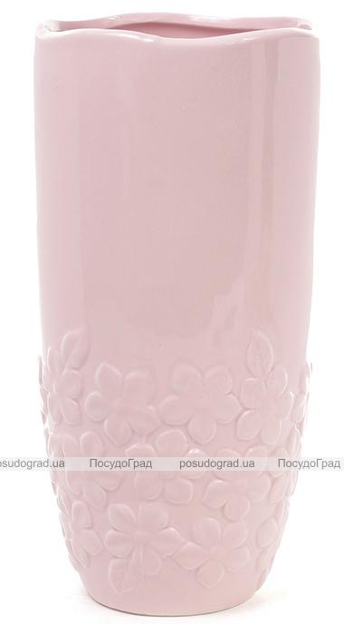Керамическая ваза Stone Flower 30см розовая с объемными цветами