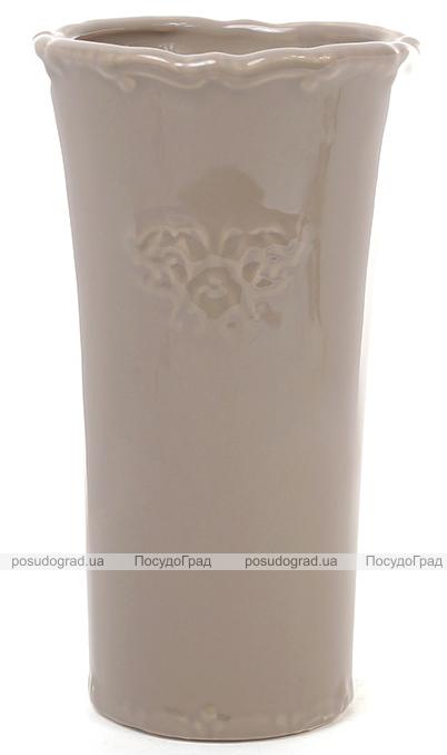 Керамическая ваза Stone Flower 25см кофе с молоком и объемным вензелем