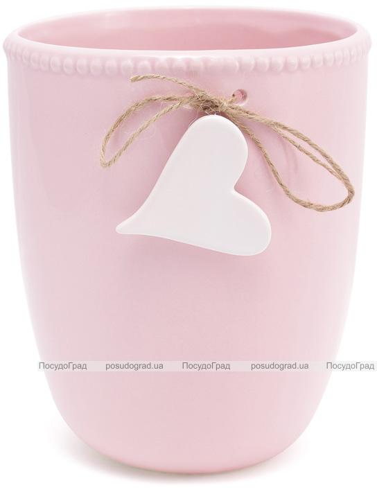 """Ваза для цветов Flowers Garden """"Сердце"""" керамическая 21см, розовая"""