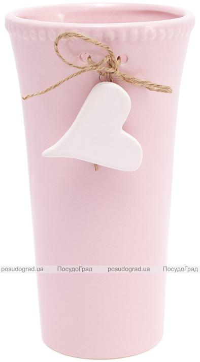 """Ваза керамическая Flowers Garden """"Сердце"""" 22см розовая"""