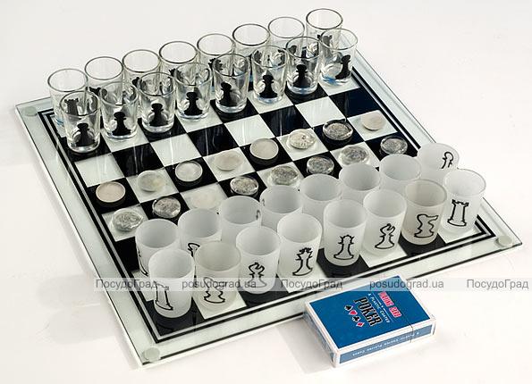 Комплект настольных игр 3 в 1 (шахматы питейные, покер, шашки) 35x35см (в наборе 32 стопки)