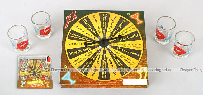 """Игра настольная """"Рулетка питейная"""" картон 15х15х4см (в наборе 4 стопки)"""