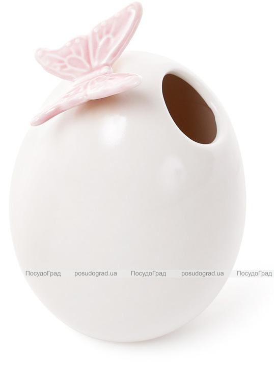 """Ваза фарфоровая Flowers Garden """"Бабочка"""" 13см белая с розовым"""