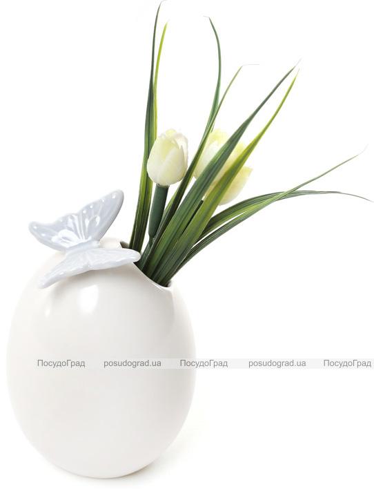 """Ваза фарфоровая Flowers Garden """"Бабочка"""" 13см белая с голубым"""