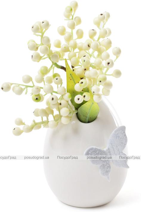"""Ваза фарфоровая Flowers Garden """"Бабочка"""" 14см белая с голубым"""
