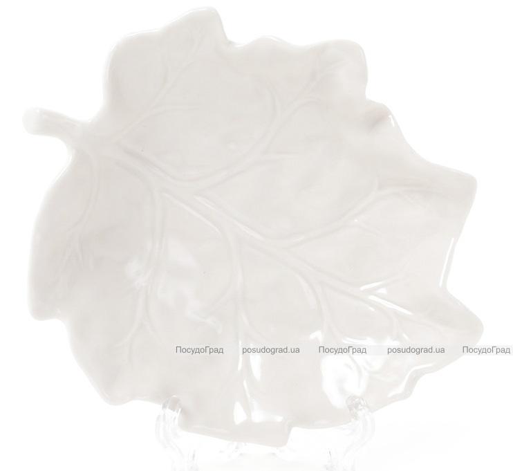 """Блюдо фарфоровое """"Белый лист"""" 15х13.1см"""