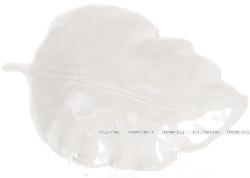 """Блюдо фарфоровое """"Белый лист"""" 18.8х12.3см"""