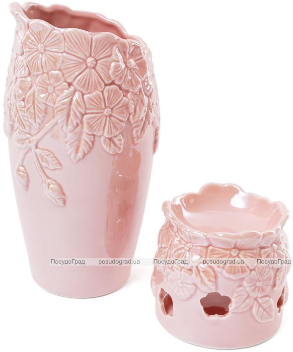 "Ваза фарфоровая ""Незабудки"" 23.5см, розовый перламутр"