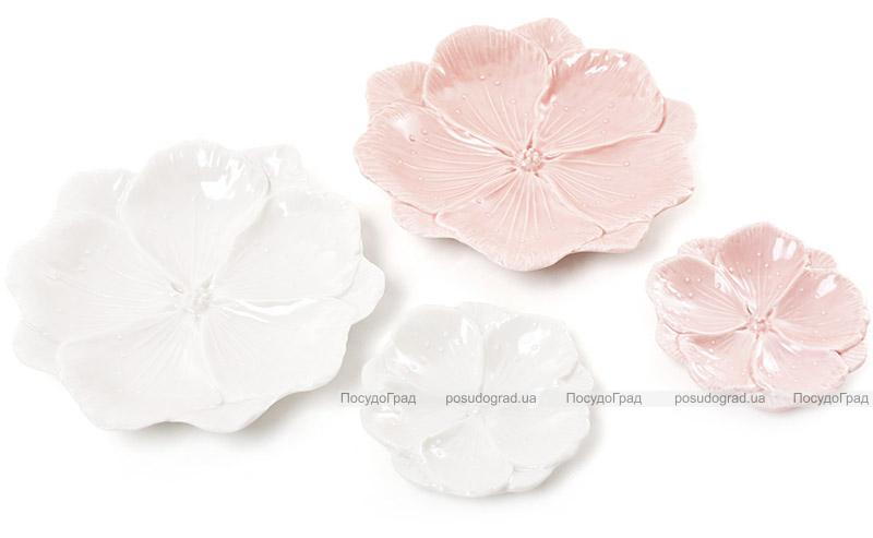 """Набор 4 декоративных блюда """"Розовый Цветок"""" 11.2х11.2х2см, фарфор"""