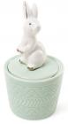 """Декоративна шкатулка-статуетка """"Граціозний кролик"""" 7.3х7.3х13.5см, м'ятна"""