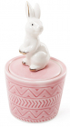 "Декоративная шкатулка-статуэтка ""Грациозный кролик"" 7.3х7.3х13.5см, розовая"