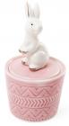 """Декоративна шкатулка-статуетка """"Граціозний кролик"""" 7.3х7.3х13.5см, рожева"""