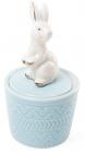 """Декоративна шкатулка-статуетка """"Граціозний кролик"""" 7.3х7.3х13.5см, блакитна"""