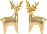 """Набір 2 декоративних фігурки """"Золотистий олень"""" 13.4см, кераміка"""