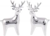 """Набір 2 декоративних фігурки """"Сріблястий олень"""" 13.4см, кераміка"""