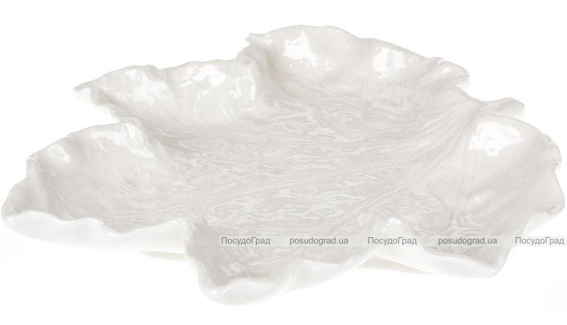 """Тарелка-блюдо Feuille """"Кленовый лист"""" 20см, керамическая белая"""