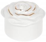 """Шкатулка порцеляновий """"Троянда"""" 9.4х9.4х6.4см, білий з золотом"""