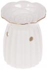 """Арома-лампа """"Роза"""" порцелянова з об'ємним декором, 8.9х8.5х10.3см, білий з золотом"""
