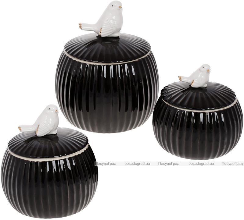 """Банка порцелянова """"Пташка"""" 1350мл з об'ємним декором, чорний глянець"""