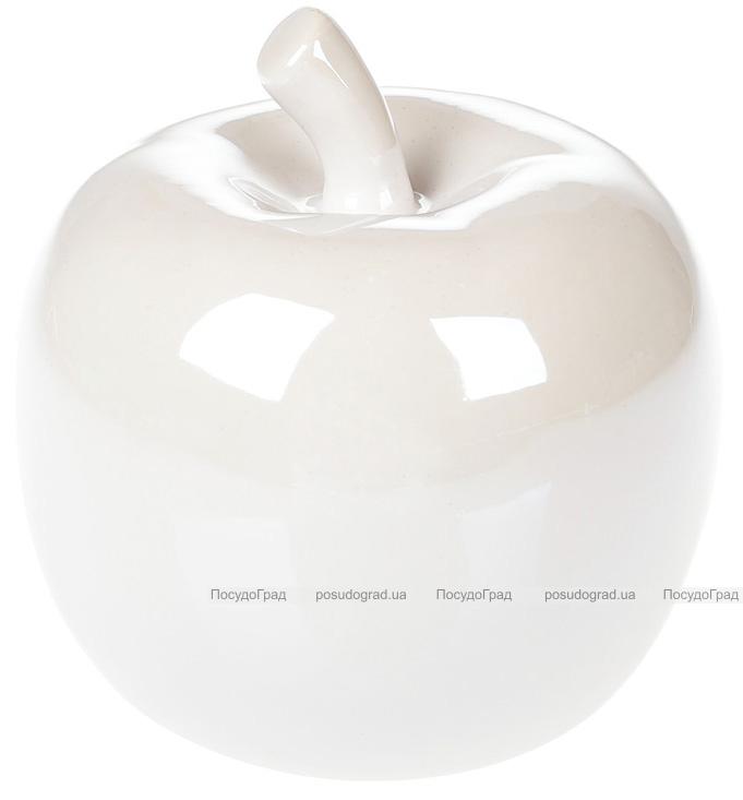 """Набір 2 декоративні статуетки """"Яблуко"""" 13см, білий перламутр"""