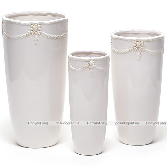 """Набор 3 керамические вазы White Triple """"Афина"""" 9x24см, 13x28см и 16x32см"""