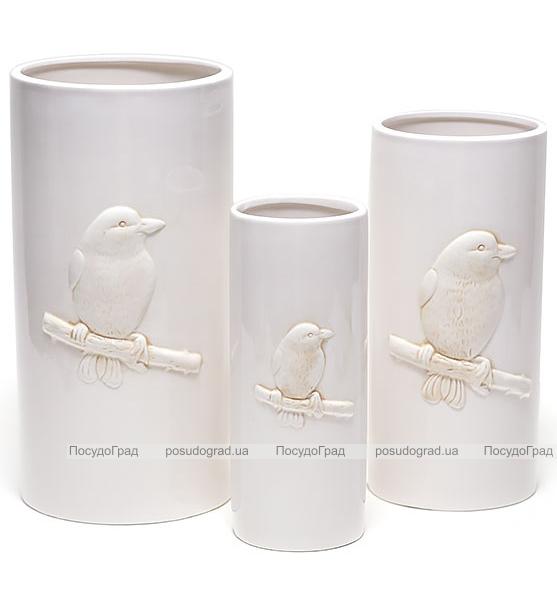 """Набор 3 керамические вазы White Triple """"Птичка"""" 16x32см, 13x28см и 9x24см"""