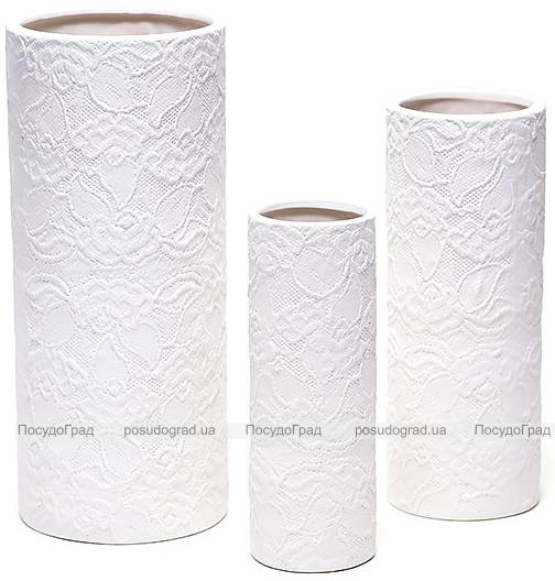 """Набор 3 керамические вазы White Triple """"Нежное кружево"""" 7.5x23см, 10x26см и 12.5x31см"""