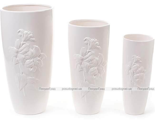 """Набор 3 керамические вазы White Triple """"Лилия"""" Ø16x32см, Ø13x28см и Ø9x24см"""