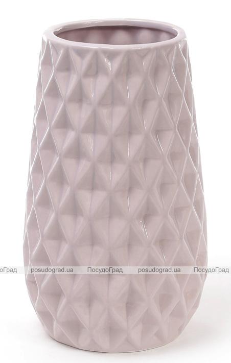 Ваза керамическая Stone Flower 23см, песочного цвета с розовым