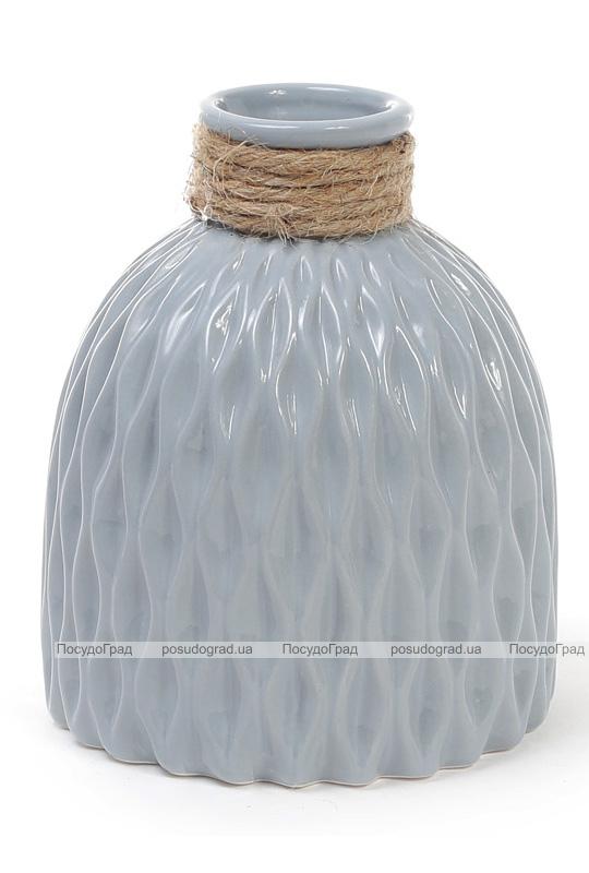 Ваза керамічна Stone Flower 14.5см, сіро-блакитного кольору