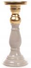 Підсвічник керамічний Goreidh 10х10х25см, сірий з бронзою