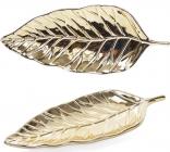 """Набор 4 керамических декоративных блюда Goreidh """"Лист"""" 24х10см, золото"""