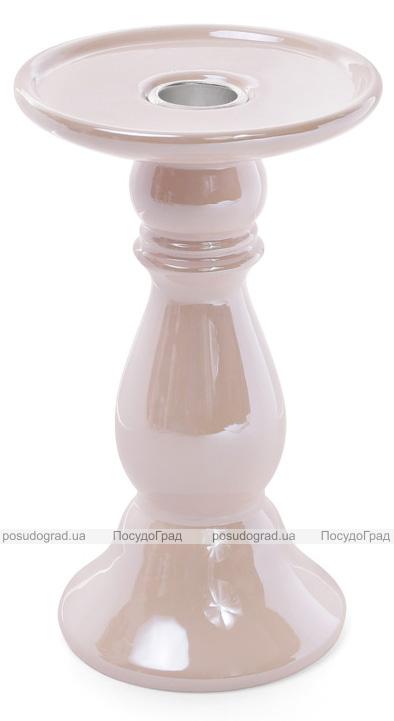 Подсвечник керамический Goreidh 11х11х18.5см, розовый перламутр