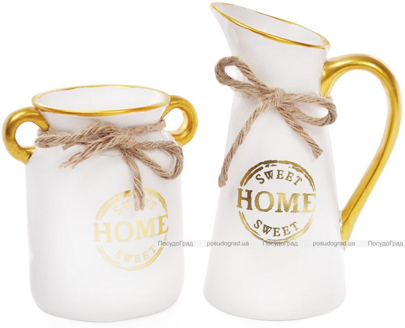 """Ваза керамическая """"Home sweet home"""" 25см, белый кувшин"""