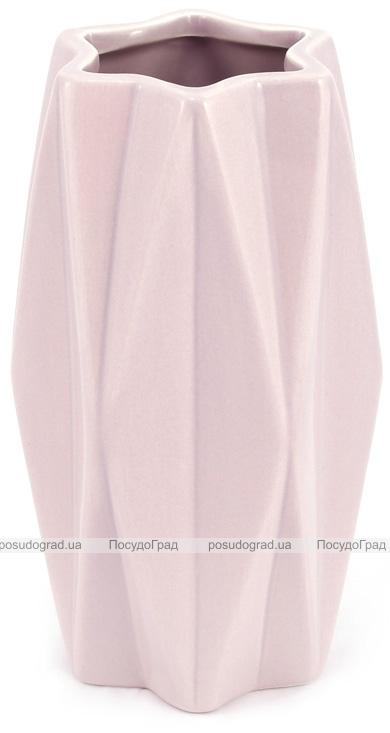 """Ваза керамічна """"Stone Flower"""" 10.5х10.5х18.5см, пісочний рожевий"""